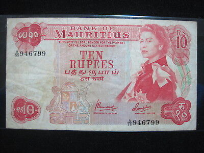 Mauritius 10 Rupees 1967 P31 British Queen 94# Currency Bank Banknote Money