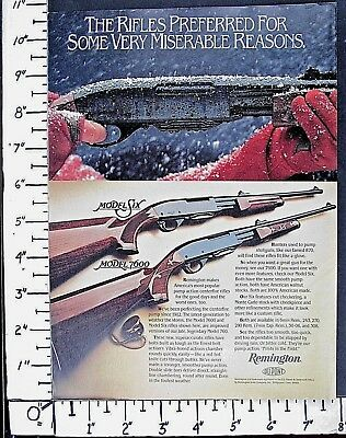 1984 REMINGTON Model Six & 7600 Pump Slide hunting rifles gun Vtg Print Ad 3606