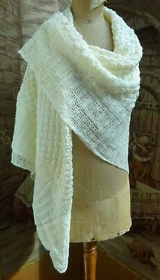 Vintage Knitted Baby Shawl Wrap Blanket Dolls Pram Collectors Early/Mid 1900's