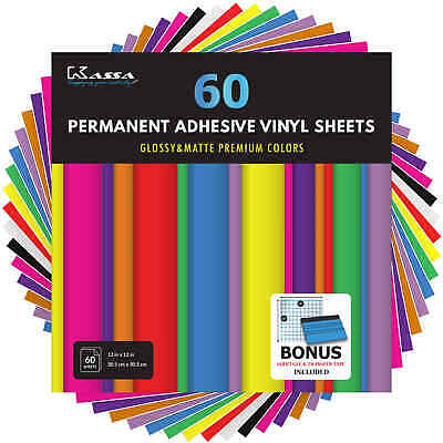 Kassa Adhesive Vinyl Sheets (60 Pack) Permanent Outdoor 651 Cricut Silhouette