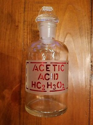 PYREX GLASS APOTHECARY MEDICAL CHEMICAL JAR w/ STOPPER - ACETIC ACID - HC2H3O2