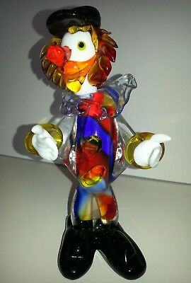 "Murano Art Glass Clown Italian Figurine 7 1/4"" hand blown Venetian Circus"