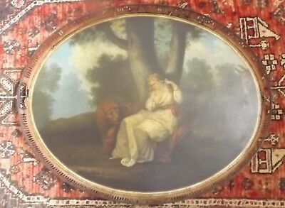 Massive 19th Century Antique Hand Painted Tole Tray with Maiden, Lion and Donkey