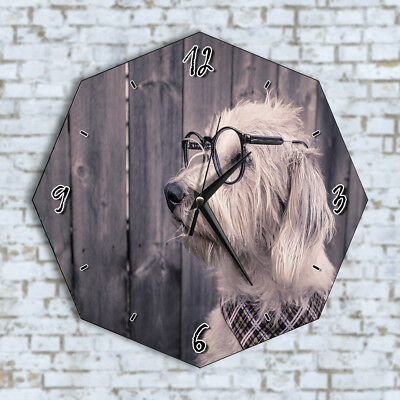 Funny Dog And Glasses Cute Home Office Kitchen Kids Living Room Decor Wall Clock