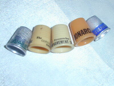 5 Old Advertising Thimbles~Plastic & Metal~Coffee,Stoves, Pianos, Home Improve