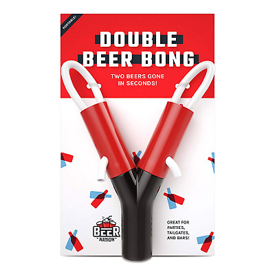 Double Beer Bong - Portable Funnel Double Header for Chugging at College Parties
