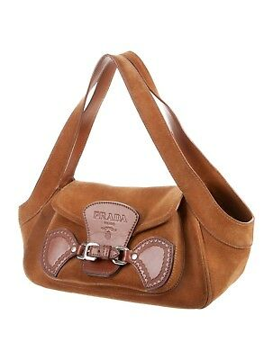 2619b357a1a6 PRADA Brown Suede Shoulder Bag with Silver Hardware Leather Trim Embossed  Logo