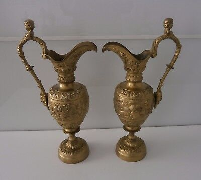 Good Decorative Pair Antique Classical Gilt Ewers - French c1880-00