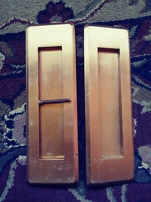 Pair vintage Corbin Solid Brass door mail slots Antique old post Part No. 74270