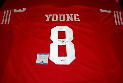 STEVE YOUNG SIGNED Autographed San Francisco 49ers Custom Jersey XL ... cf9a59b1a