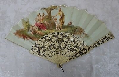 Antique 19th Century Victorian Hand Painted Ornate Bone Handle Hand Fan