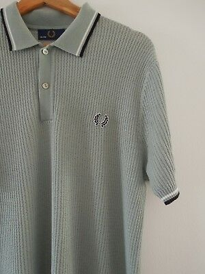 ce3f4ead8 Fred Perry Laurel Wreath Waffle Knitted Polo Shirt size 42 XL Mod Weller  Skins