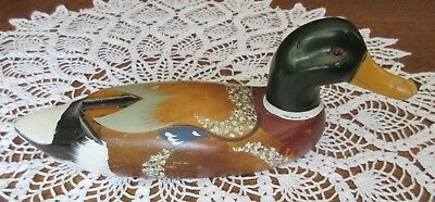 Vintage Mallard Duck Decoy Hand-Carved Solid Wood Amber Eyes Hand-Painted Emson