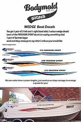 """Quintrex Freedom Boat Decals and Graphics """"Wedge Kit"""" 1500mm long"""