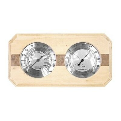 ALEKO Wall-Mounted Pine Wood Thermometer and Hygrometer for Sauna