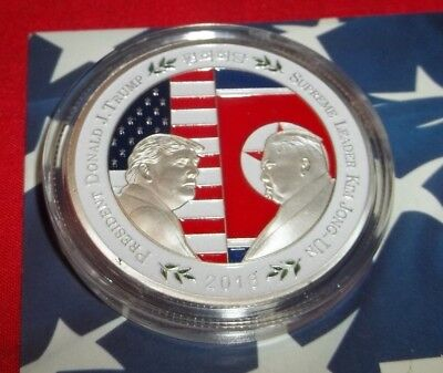 North Korea Peace Talks Historic Coin USA President Trump and Leader Kim Jong-Un