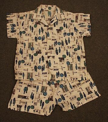 ORIGINAL VINTAGE 1960s BOYS PAJAMAS WITH BOWLING THEME.