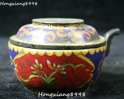 Old Chinese Ancient Cloisonne Enamel Bronze Wine Tea Pot Teapots Flagon Statue
