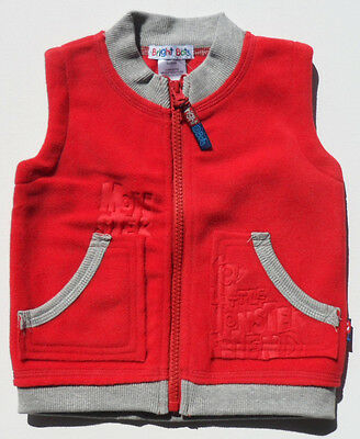 Size 00 - Baby Boys Bright Bots Red Fleece Vest Jacket