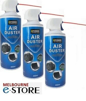 3x Compressed Air Duster Can Cleaner 400ml for PC Laptop Keyboard Cleaning