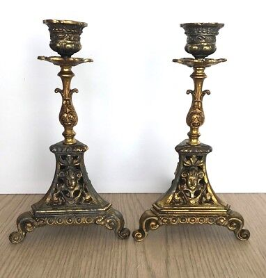 VTG Pair Ornate Aztec head Gold Brass 3 footed Triangle Candlestick Holders