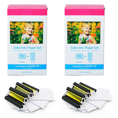 2 PK KP-108IN 3 x Ink and 108 Paper Sheets for Canon Selphy CP900 CP910 CP1300