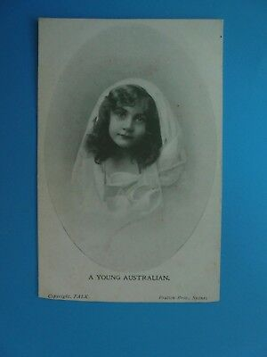 A YOUNG AUSTRALIAN c1907 PICTURE OF A YOUNG CHILD GIRL POSTCARD FALK