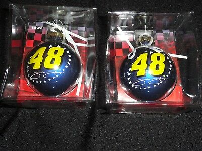 Jimmie Johnson 2004 #48 Blue Bulb Collectible Ornaments Set Of 2