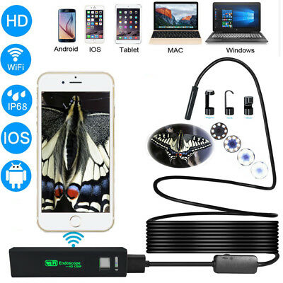 WiFi 1200P HD Waterproof For iPhone Android Endoscope Inspection Camera lot KL1