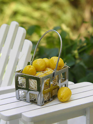 Miniature Dollhouse FAIRY GARDEN Accessories ~ Lemons with Tin Metal Basket