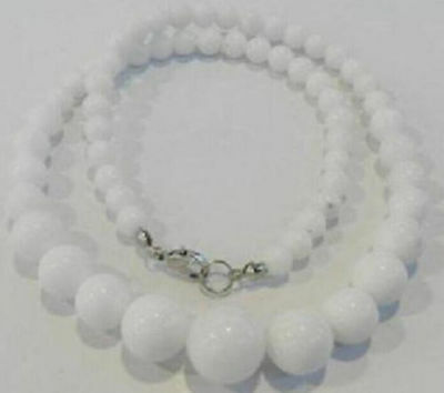 New 6-14mm Natural White Jade Gemstone Round Beads Necklace 18''