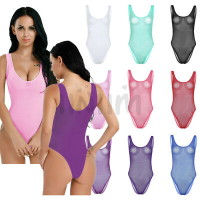 e5c51d7caaa One-Piece Women Swimwear Lingerie Mesh Sheer High Cut Thong Leotard Bodysuit