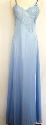 """VTG 70s LILY OF FRANCE ROSA PULEO-SZULE BLUE SILKY NYLON LACY NIGHTGOWN L 38"""""""
