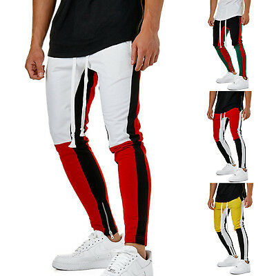 Men's Sports Slim Fit Casual Skinny Pants Gym Jogger Track Trousers Ankle Zipper