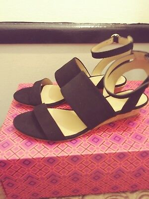 53925b2ba4dc NEW Tory Burch North Suede Low-Wedge Sandal Size 5.5 medium Black