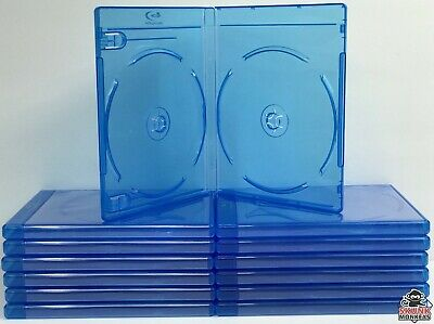 (12) Bluray Replacement Cases 12mm 2 Disc Double With Logo Premium Movie Storage
