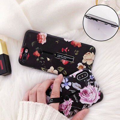 For iPhone XS Max 8 7 6 Plus Rose Flower Retro Ring Stand Holder Hard Case Cover