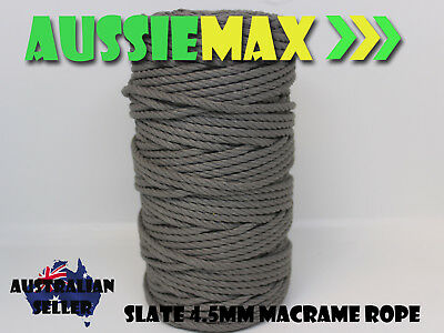 4.5mm Slate Macrame Rope 100% Natural Cotton Cord 90 Meters
