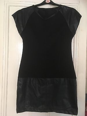 Black Semi Fitted Dress/Made In Italy/Faux Leather and Fabric/Back Zip