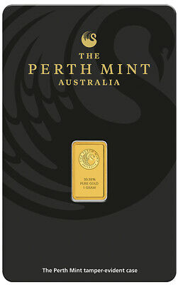 Perth Mint Kangaroo 1g .9999 Gold Minted Bullion Bar - Black Cert Card - 1 Gram