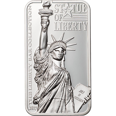 2017 2 oz Cook Islands Statue of Liberty Proof Silver Bar Coin $10 .999 Fine
