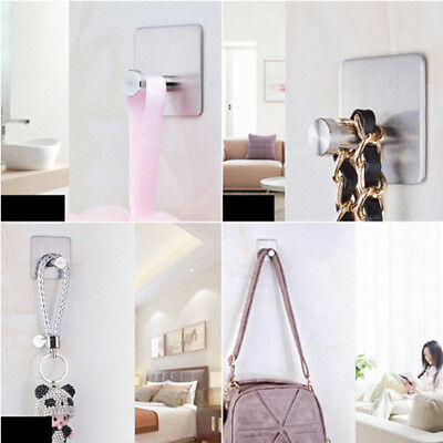 Stainless Steel Sticky Wall Hook Adhesive Door Hanger Clothes Hat Coat Towel N7