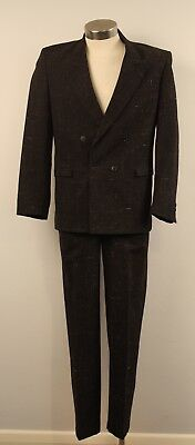 "GREY, SMALL /MEDIUM, ORIGINAL VINTAGE 1980s DOUBLE BREASTED MENS SUIT. ""MANCINI"""