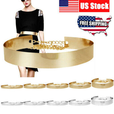 New Women Metal Waist Wide Belt Gold Plated Mirror Waistband Metallic Chains