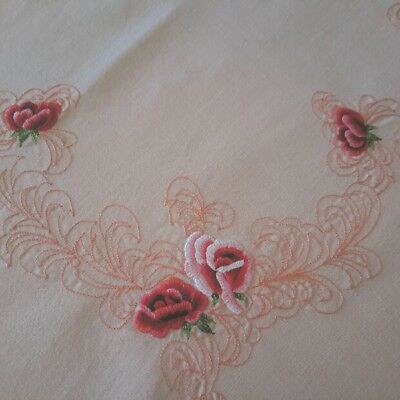 Vintage Table Supper Cloth Pink/Apricot with Red Roses