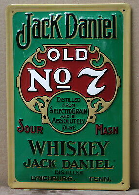 JACK DANIEL Old No. 7 Whiskey Embossed Metal Sign Vintage Advert