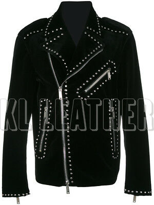 58b1dfac New Mens Full Black Half Silver Studded Brando Style Suede Leather Jacket