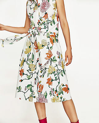 ZARA SS17 Floral Leaf Printed Tunic Shirt Midi Dress With Knot Front S M BNWT