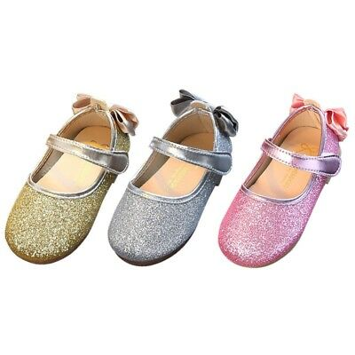 Girls Kids Baby Sequins Princess Shoes Bow Party Bridesmaid Flat Shoes Sandals