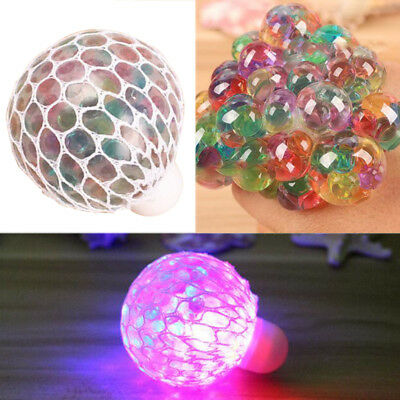 Squishy Flash Led Colourful Mesh Balls Squeeze Stress Ball Grape Toy Gifts